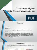 Correção das páginas do livro didático