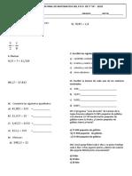 Examen Matematica 5to primaria