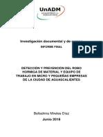 DETECCIÓN Y PREVENCIÓN DEL ROBO HORMIGA DE MATERIAL Y EQUIPO DE TRABAJO EN MICRO Y PEQUEÑAS EMPRESAS DE LA CIUDAD DE AGUASCALIENTES
