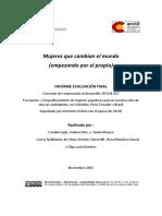 """Evaluación Programa """"Formación y Empoderamiento de mujeres populares y diversasparalaConstruccióndenuevasciudadaníasenColombia,Perú,EcuadoryBrasil"""","""