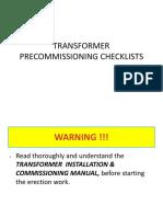Power Transformer Pre Commisioning Checklist