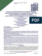 MEASURING UTILIZATION OF E-LEARNING COURSE DISCRETE MATHEMATICS TOWARD MOTIVATION AND EFFECTIVENESS OF STUDENT LEARNING  (CASE STUDY FASILKOM MERCU BUANA UNIVERSITY)