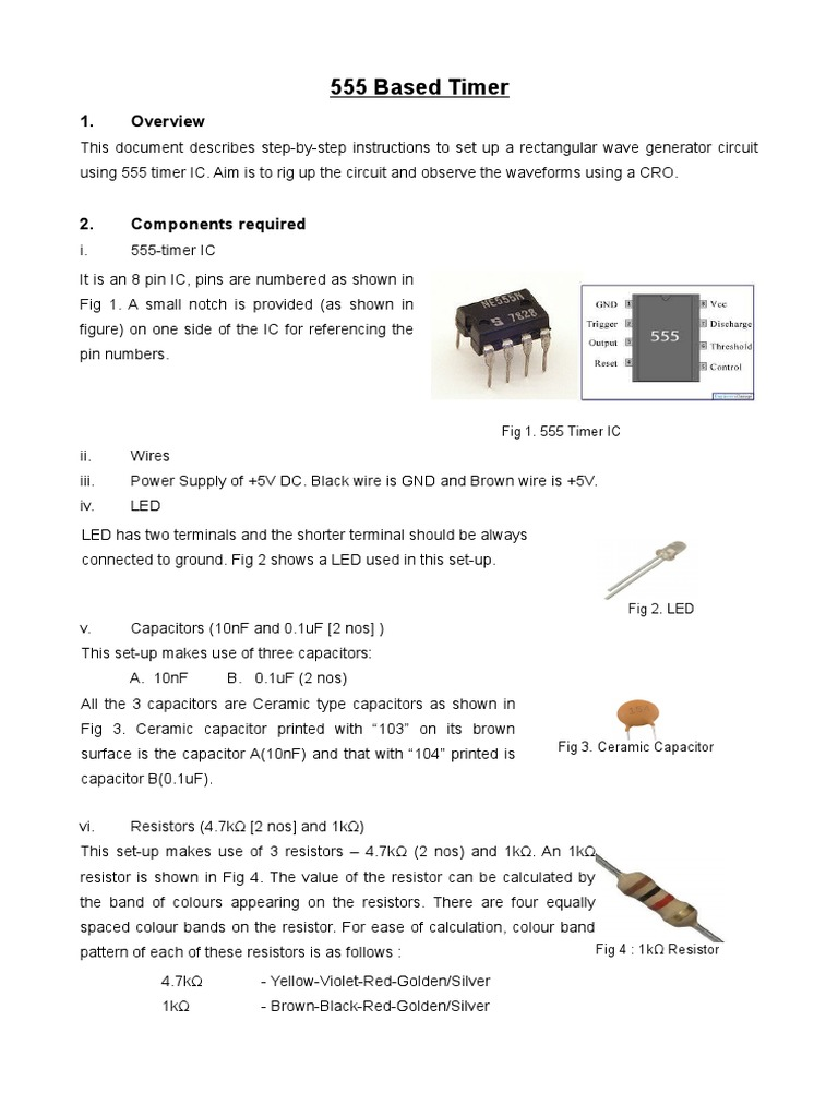 Resistors And Capacitors Calculation For 555 Timer Circuit