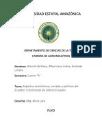 Situacion Socioeconomico Del Ecuador