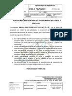 PLT-PESV-002 Política de Prevención Del Consumo de Alcohol y Drogas
