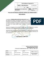 PLT-PESV-003 Política de Regulación de Horas de Conducción y Descansos