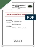 Informe Sincronizacion de Ovinos
