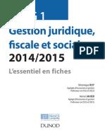 DSCG 1 - Gestion Juridique Fiscale Et Sociale - Fiches - 2014 - 4e Éd
