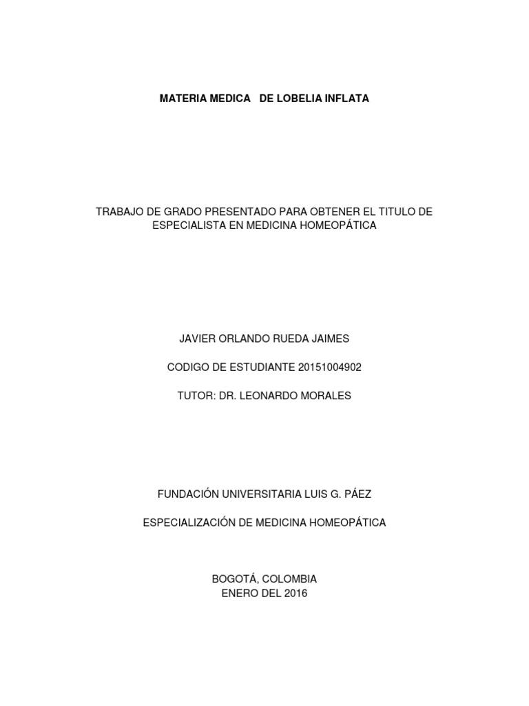 Materia Medica De Lobelia Inflata Rueda Jaimes Javier Orlando 2