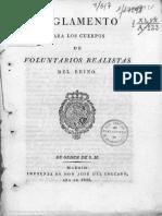 Reglamento Para Los Cuerpos de Voluntarios Realistas y Adición Para P. v.- 1826