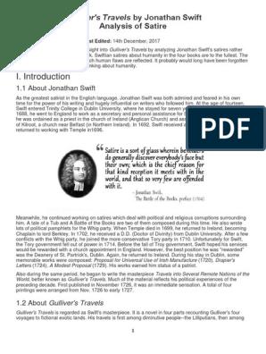 Gulliver S Travels Analysis Of Satire Jonathan Swift Irony