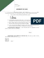 EDWIN Affidavit of Loss Various Id