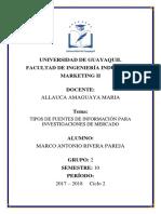 Marketing-tipos de Fuentes de Información Para Investigaciones de Mercado
