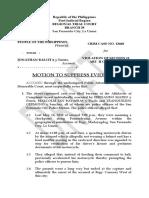Motion to Suppress Evidence - Jonathan Balcita