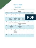Calendario de Actividades-Baile de Graduación.
