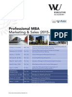 Schedule Professional MBA Marketing and Sales