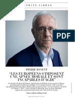 Pierre Manent Les Européens s'Impoosent Une Apnée Morale Et Sont Incapables d'Agir Fig Mag 2018 06 08