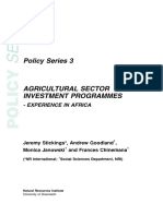 Agricultural Sector Investment Programs