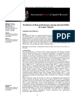 Predictors of Firm Performance Among Selected SMEs