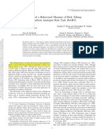 Evaluation of a Behavioral Measure of Risk Taking the Balloon Analogue Risk Task (BART