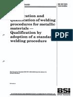 BS en ISO 15612 WPQR Based on Adoption of Std Welding Procedure