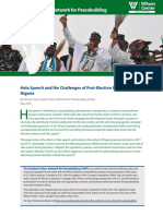 Hate Speech and the Challenges of Post-Election Peacebuilding in Nigeria