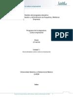 Unidad 1. Generalidades Sobre La Cultura Empresarial