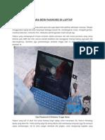 Cara beri Pasword Di Laptop