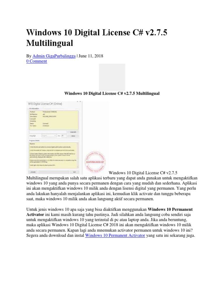 Windows 10 Digital License C# v2 7 5 Multilingual
