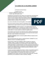 Biomecánica Clinica de La Columna Lumbar