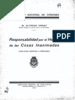 Responsabilidad por el Hecho de las Cosas Inanimadas - Dr. Alfredo Orgaz