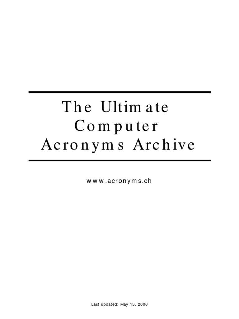 The Ultimate Computer Acronyms Archive Operating System Fsl Wiring To A Pir Without Builtin Resistors Network
