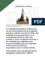 Expropiación Del Petróleo en México