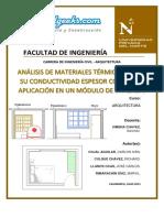 Análisis de Materiales Térmicos según su conductividad espesor Costo y su aplicación en un Módulo de ViviendaCIVILGEEKS.pdf