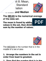 Notes Mean Median Standard Deviation Notes