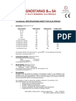 Technical Specifications Sheet for Clay Bricks