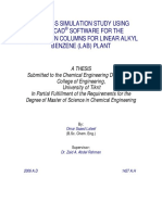 process Simulation Study Using CHEMCAD Software for the Separation Columns for Linear Alkyl Benzene (LAB) Plant