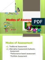 Modes of Assessment Traditional & Authentic