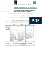 Rúbricas de Los Criterios de Evaluación Way to Disaster 4t ESO