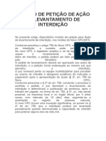 Modelo de Petição de Ação de Levantamento de Interdição