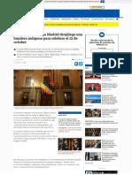el ayuntamiento de madrid despliega una bandera indígena para celebrar el 12 de octubre