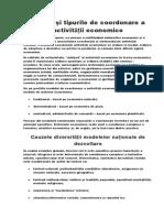 Esenţa Şi Tipurile de Coordonare a Activităţii Economice