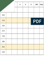 Tabela semanal