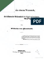 Wilhelm von Humboldt, Ideen zu einem Versuch, die Gränzen der Wirksamkeit des Staats zu bestimmen