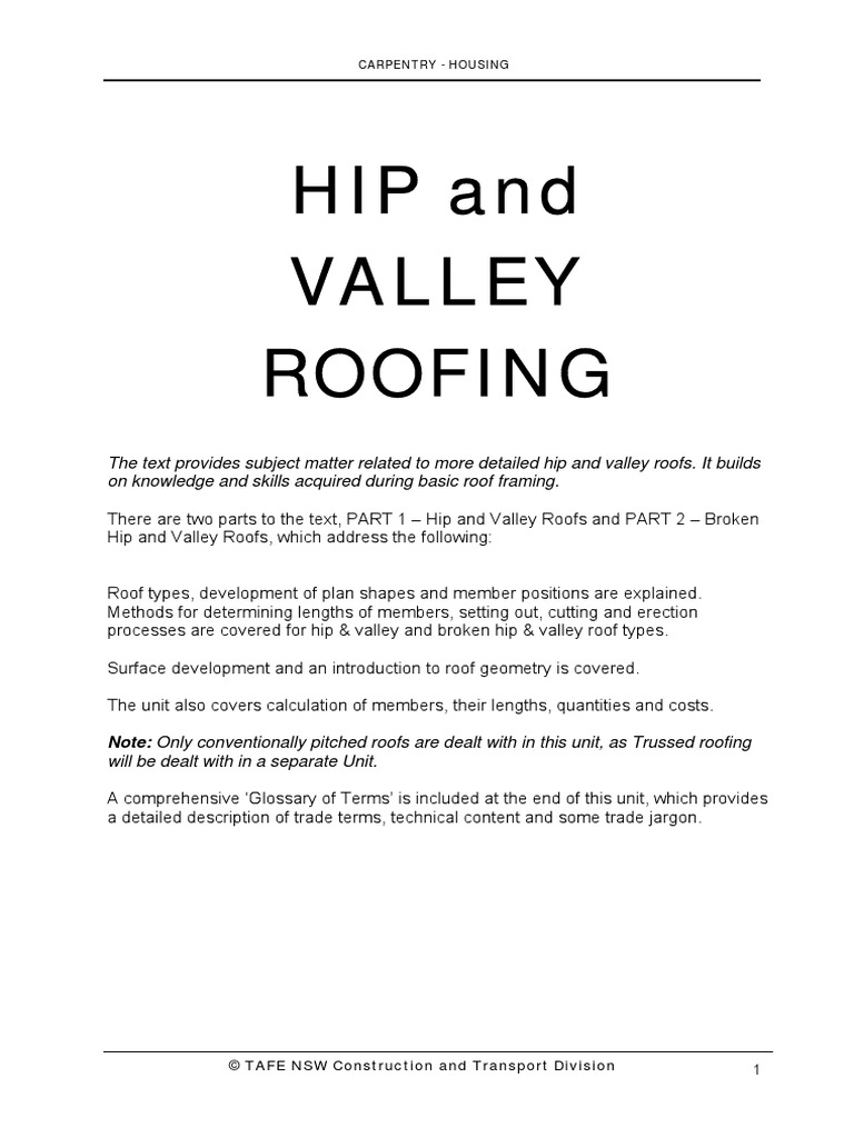 Convention Pitched Roof Tafe Nsw1 Pdf Complete1 Framing