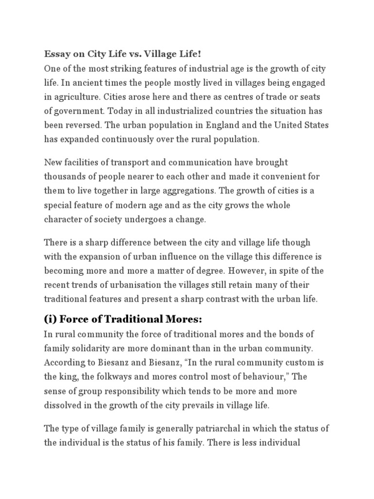 Essay about village and city life first break all the rule book report