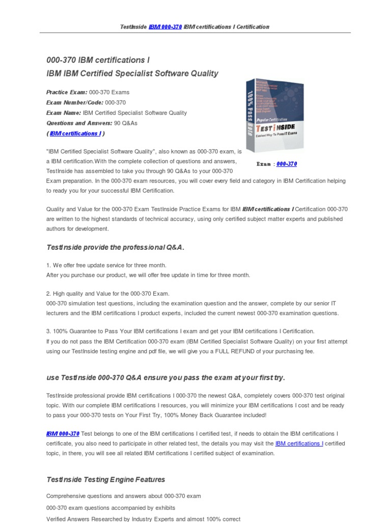 000 370 Software Testing Certification