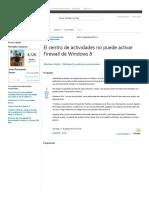 El Centro de Actividades No Puede Activar Firewall de Windows 8