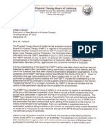 Letter of the Board of Physical Therapy of California to FSBPT