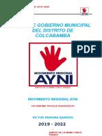 Plan de Gobierno Colcabamba Ayni 2018